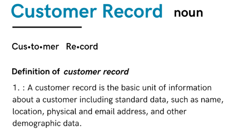 customer record